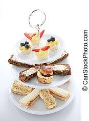 afternoon tea cake sandwich selectio