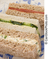 Afternoon Tea Finger Sandwiches- Egg and Cress Smoked Salmon...
