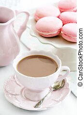 Afternoon tea served with Parisian macarons