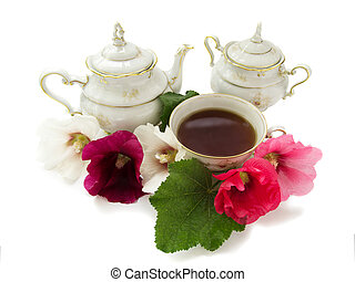 afternoon tea - Tea antique set with flowers on white