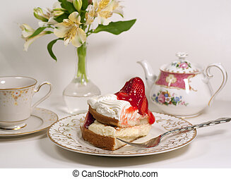 afternoon tea with strawberyy short cake