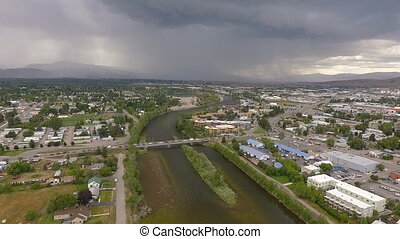 Afternoon Thunderstorm Missoula Montana Clark Fork River -...