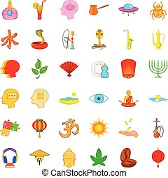 Afterthought icons set, cartoon style