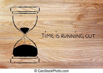 afuera, corriente, reloj de arena, diseño, tiempo