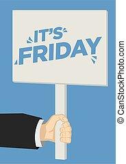 afuera, illustration., placard., grito, viernes, vector, it?...