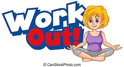 afuera, trabajo, diseño, fuente, palabra, niño, ejercicio