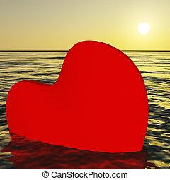 afundamento, coração, amor, perda, mostrando, quebrada