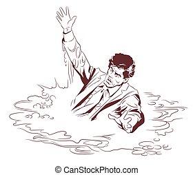 afundamento, man., estoque, illustration.