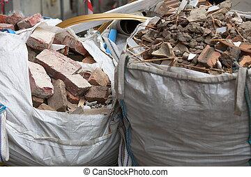 afval, bouwsector, puin, volle, zakken