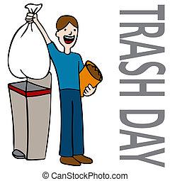 afval, dag, man