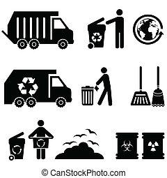 afval, en, restafval, iconen