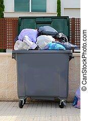 afval, restafval, volle, container, in, straat