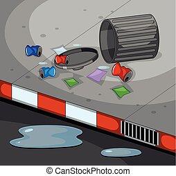 afval, scène, straat, vieze