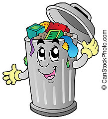 afval, spotprent, groenteblik