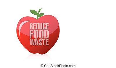 afval, voedingsmiddelen, verlagen, appel