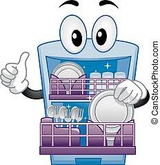 afwasmachine, mascotte, op, duimen