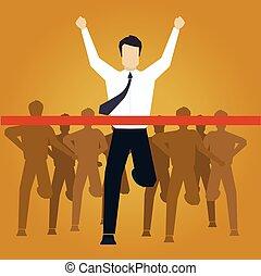 afwerking, illustratie, rennende , vector, kruising, zakenman, lijn