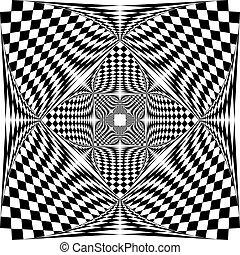 afwerking, schild, tridimensional, squared, arabesk, pseudo, illusie, vlag, achtergrond, transparant