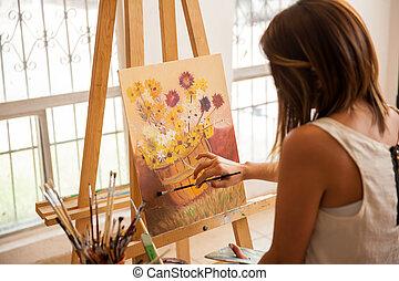afwerking, schilderij, vrouwlijk, kunstenaar