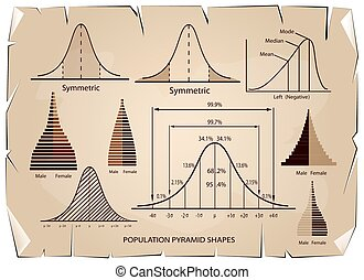 afwijking, piramide, tabel, standaard, diagram, bevolking