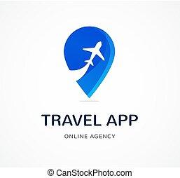 agência de viagens, turismo, app, e, viagens, logotipo, aventura, excursões, ícone, e, elemento