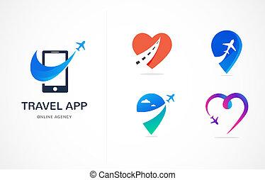agência de viagens, turismo, app, e, viagens, logotipo, aventura, excursões, vetorial, modernos, ícone, e, elemento