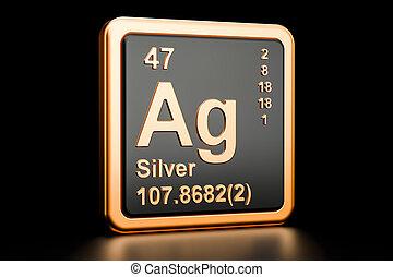ag, 化学物質, レンダリング, 銀, element., 3d