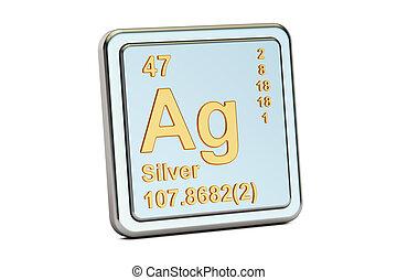 ag, 印。, 要素, 化学物質, レンダリング, 銀, 3d