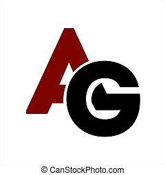 ag, companhia, letra, logotipo, ícone, iniciais