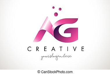 AG Letter Logo Design with Purple Colors and Dots - AG...