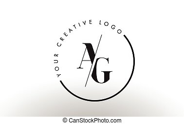 AG Serif Letter Logo Design with Creative Intersected Cut. -...