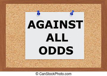 Render illustration of Against all Odds Title on cork board