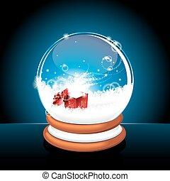 against., klot, snö, illustration, jul