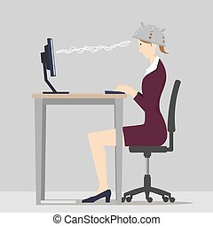 Against Mind Control Concept. Woman sitting at desk wearing colander to protect her from mind control.