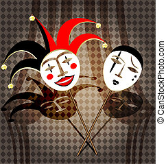two masks clown - against the abstract background - two...