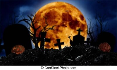 Against the backdrop of a moon, bats fly, there are crosses and Halloween pumpkins