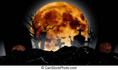 Against the backdrop of a moon, bats fly, there are crosses...