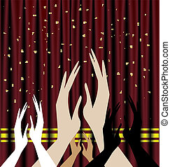 applause - against the background of red theater curtain ...
