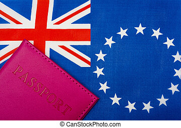 Against the background of the flag of the cook Islands is a passport.