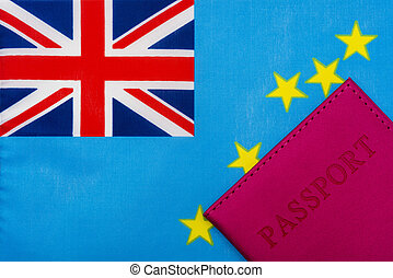Against the background of the flag of Tuvalu is a passport.