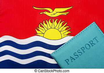 Against the background of the Kiribati flag is a passport.