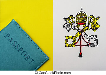 Against the background of the Vatican flag is a passport.
