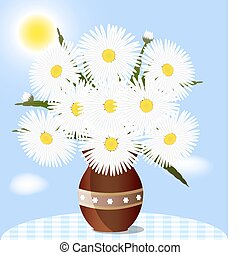 daisies - against the blue sky on the table is a vase with...