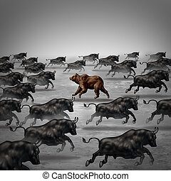 Against the current business concept as a different way to invest or going the opposite direction as a bear in a bull market metaphor for individual financial thinking and confidence in a contrary forecast.