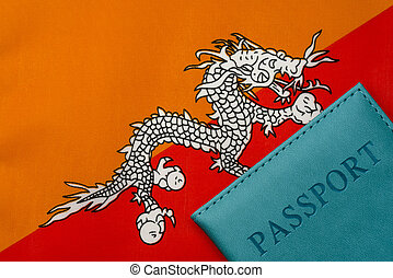 Against the flag of Bhutan is a passport.