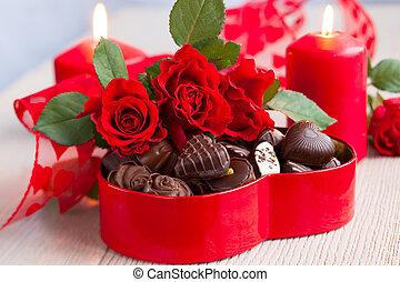 agancsrózsák, és, chocolate cukorka, helyett, valentin nap