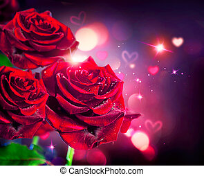 agancsrózsák, és, piros, háttér., kedves, vagy, esküvő, kártya, tervezés