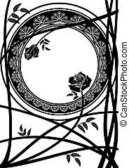agancsrózsák, keret, elágazik
