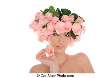 agancsrózsák, nő, ékszerek, fiatal