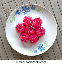 Agar agar (Jelly) dessert - Dragon fruit (red) agar agar...